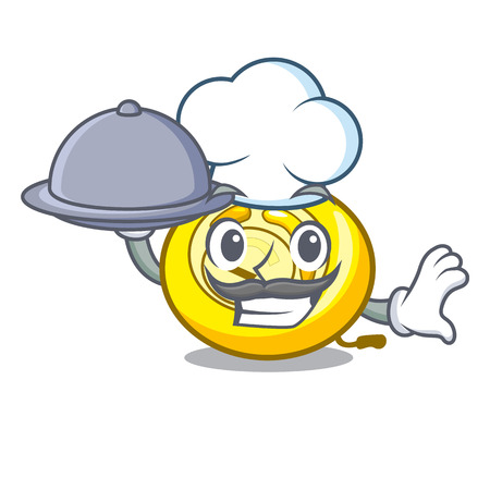 Chef with food CD player mascot cartoon vector illustration