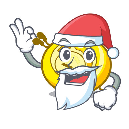 Santa CD player mascot cartoon vector illustration