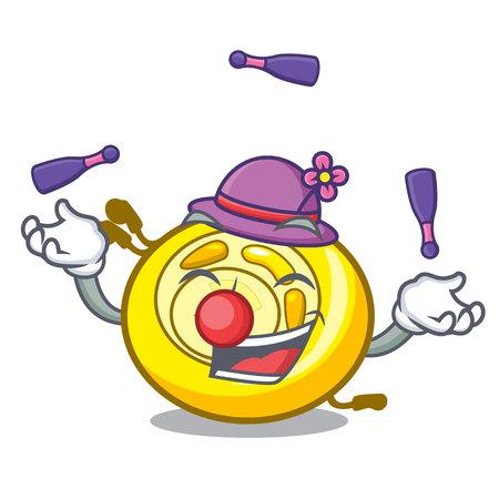 Juggling CD player mascot cartoon vector illustration Illustration
