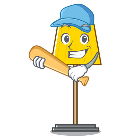 Playing baseball floor lamp character cartoon vector illustration