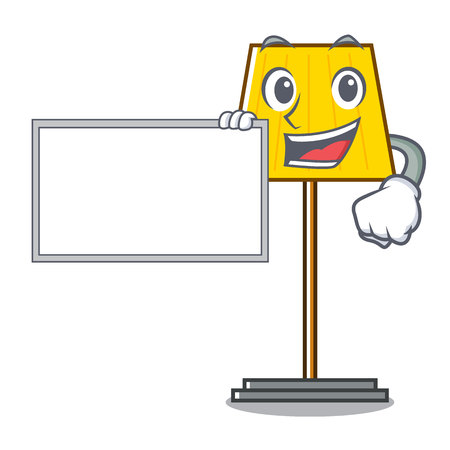 With board floor lamp character cartoon vector illustration Illustration