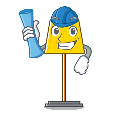Architect floor lamp character cartoon vector illustration