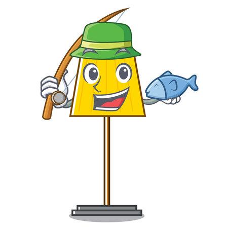 Fishing floor lamp mascot cartoon vector illustration