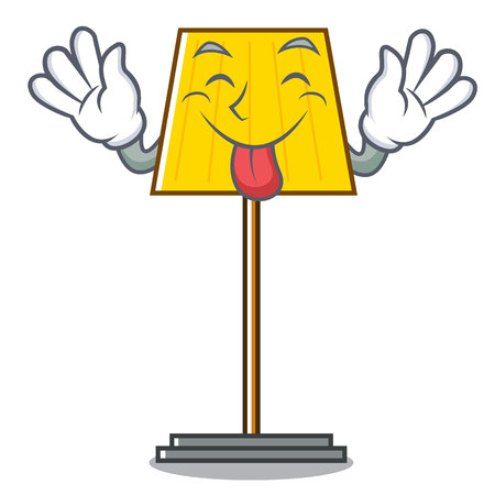 Tongue out floor lamp mascot cartoon vector illustration