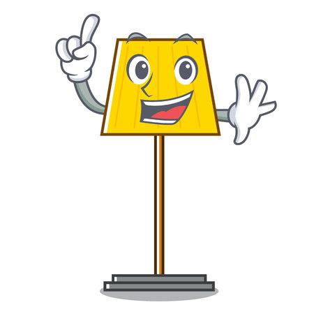 Finger floor lamp mascot cartoon vector illustration