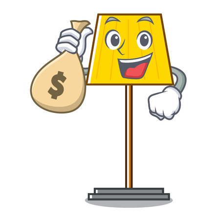 With money bag floor lamp character cartoon vector illustration