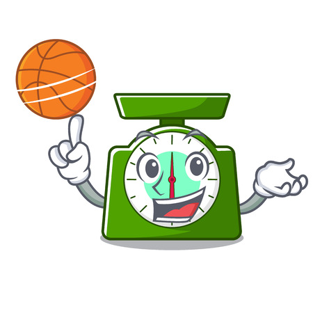 With basketball kitchen scale character cartoon vector illustration Ilustração