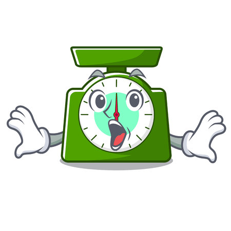 Surprised kitchen scale mascot cartoon vector illustration