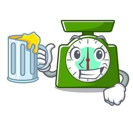With juice kitchen scale mascot cartoon vector illustration