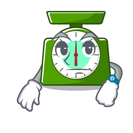 Waiting kitchen scale mascot cartoon vector illustration