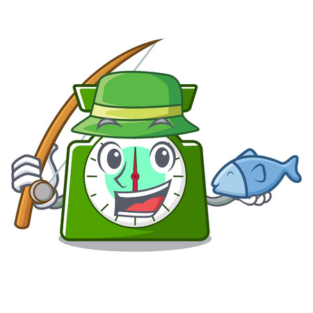 Fishing kitchen scale mascot cartoon vector illustration Illustration