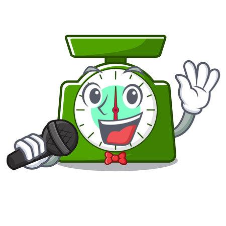 Singing kitchen scale mascot cartoon vector illustration