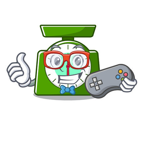 Gamer kitchen scale mascot cartoon vector illustration