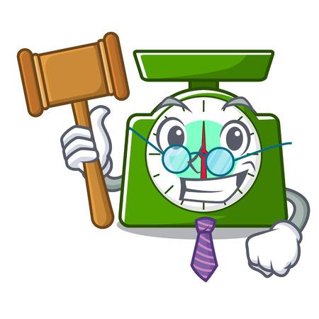 Judge kitchen scale mascot cartoon vector illustration