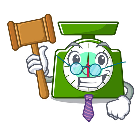 Judge kitchen scale mascot cartoon vector illustration