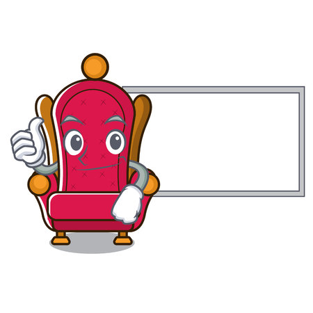 Thumbs up with board throne character cartoon vector illustration