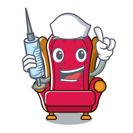 Nurse king throne character cartoon vector illustration