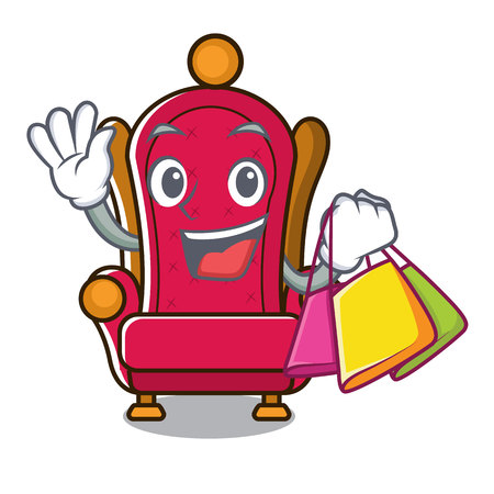 Shopping king throne character cartoon vector illustration
