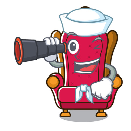 Sailor with binocular king throne mascot cartoon vector illustration