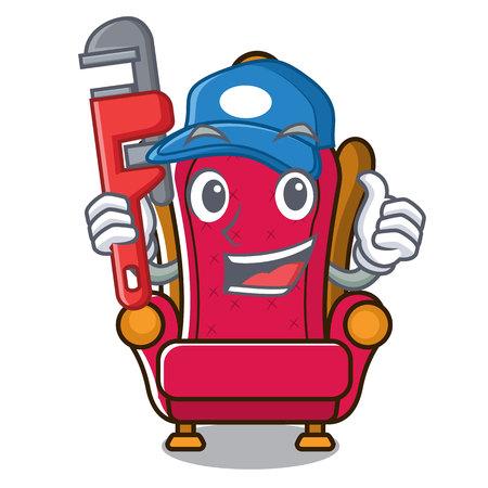 Plumber king throne mascot cartoon vector illustration
