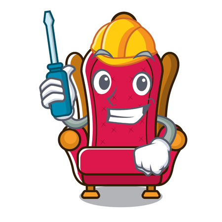 Automotive king throne mascot cartoon vector illustration Illustration