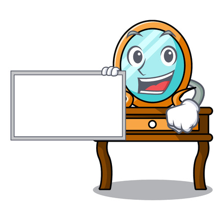 With board dressing table character cartoon vector illustration