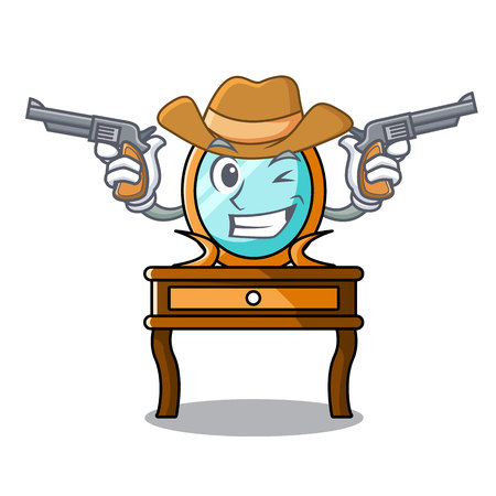 Cowboy dressing table character cartoon vector illustration