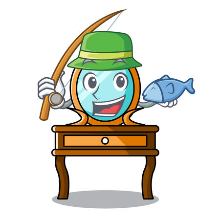 Fishing dressing table mascot cartoon vector illustration