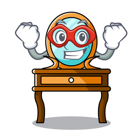 Super hero dressing table character cartoon vector illustration Vetores