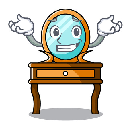 Grinning dressing table character cartoon vector illustration