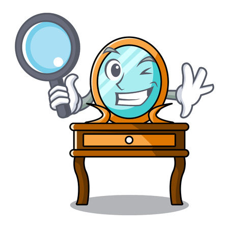Detective dressing table character cartoon vector illustration
