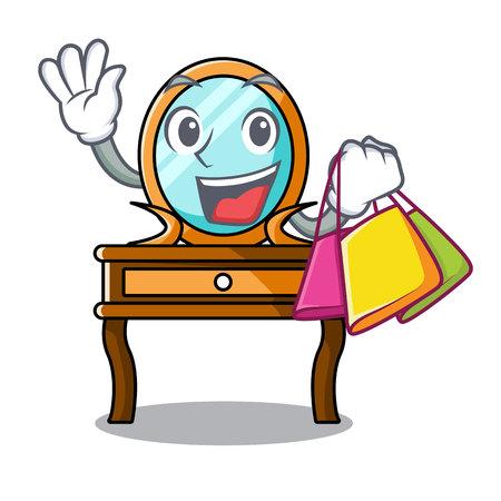 Shopping dressing table character cartoon vector illustration