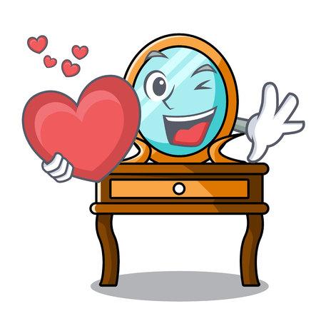 With heart dressing table mascot cartoon vector illustration Vetores