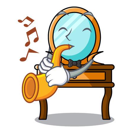 With trumpet dressing table mascot cartoon vector illustration Vetores