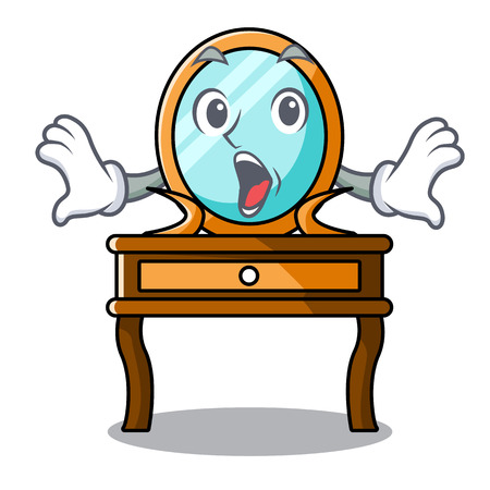 Surprised dressing table mascot cartoon vector illustration Vetores
