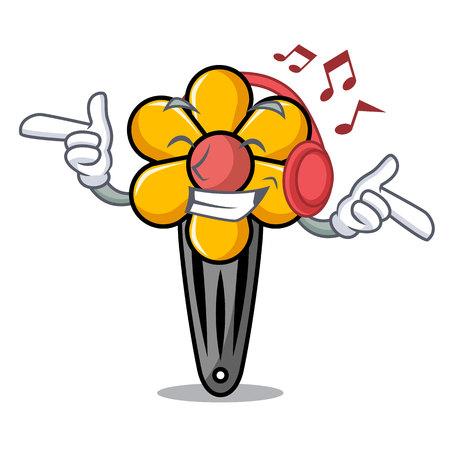 Listening music hair clip mascot cartoon vector illustration