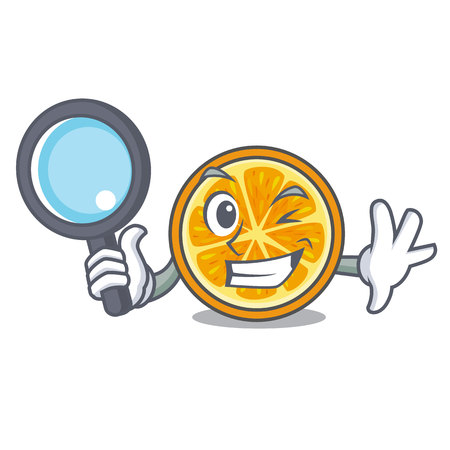 Detective orange character cartoon style vector illustration