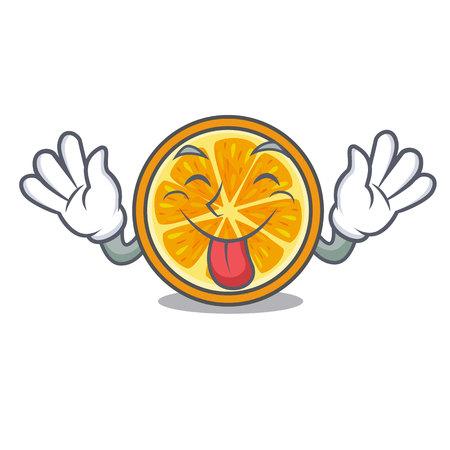 Tongue out orange mascot cartoon style vector illustration
