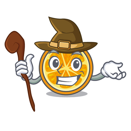 Witch orange mascot cartoon style vector illustration