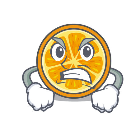 Angry orange mascot cartoon style vector illustration