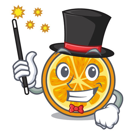 Magician orange mascot cartoon style vector illustration