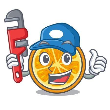 Plumber orange mascot cartoon style vector illustration