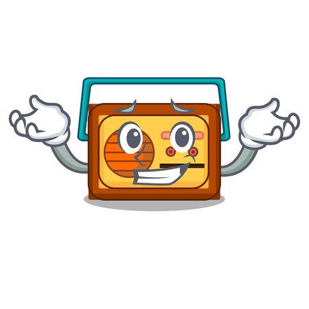Grinning radio character cartoon style vector illustration