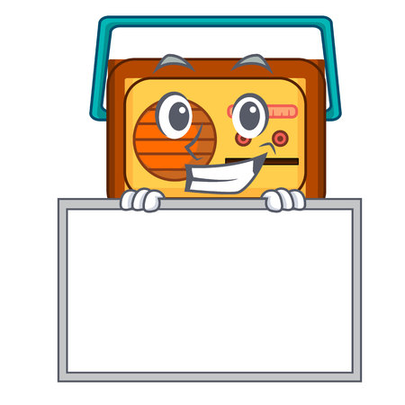 Grinning with board radio character cartoon style vector illustration Ilustrace