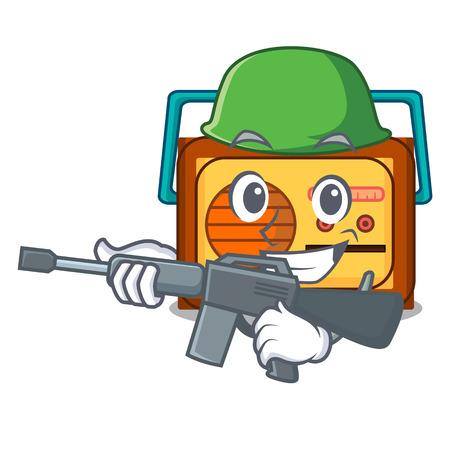 Army radio character cartoon style vector illustration Vectores
