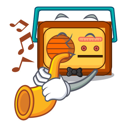 With trumpet radio mascot cartoon style vector illustration Çizim