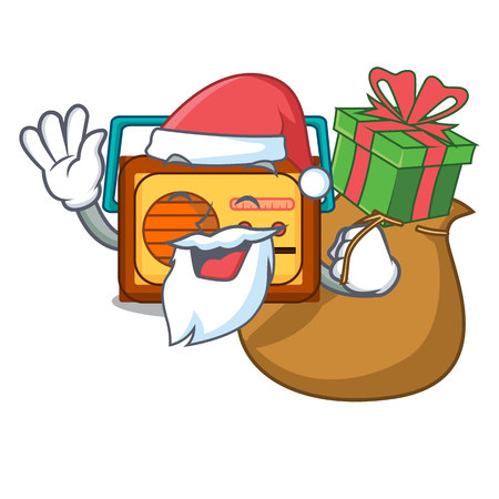 Santa with gift radio mascot cartoon style vector illustration