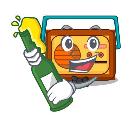 f3d37cb37fe With beer radio mascot cartoon style vector illustration