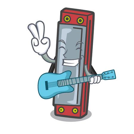 With guitar harmonica mascot cartoon style vector illustration Stock Illustratie