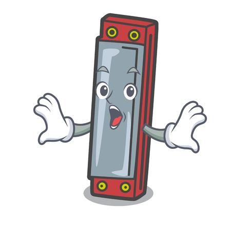 Surprised harmonica mascot cartoon style vector illustration Illustration